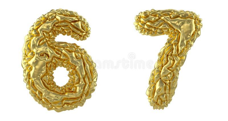 Sistema 6, 7 del número hechos de hoja arrugada S?mbolos de la colecci?n de la hoja de oro arrugada aislada en el fondo blanco libre illustration