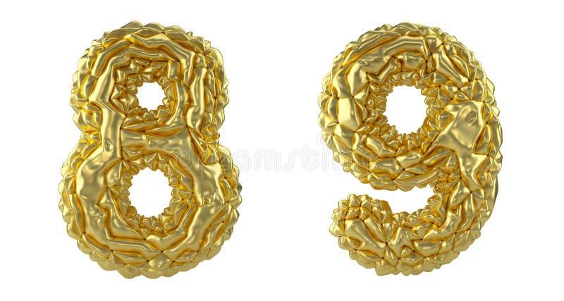 Sistema 8, 9 del número hechos de hoja arrugada S?mbolos de la colecci?n de la hoja de oro arrugada aislada en el fondo blanco stock de ilustración