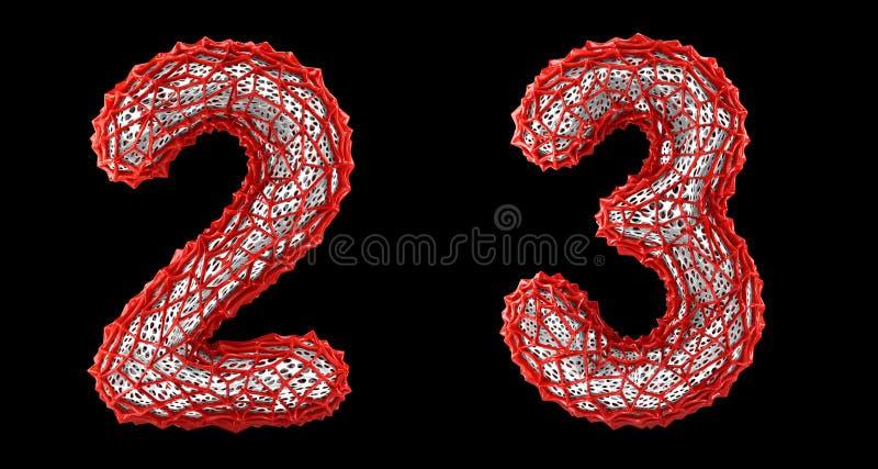 Sistema 2, 3 del número hechos de la representación plástica roja 3d stock de ilustración