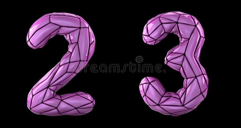 Sistema 2, 3 del número hechos del plástico rosado del color stock de ilustración