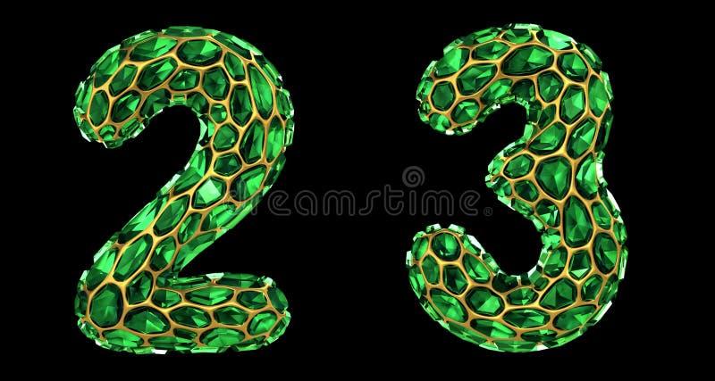 Sistema 2, 3 del número hechos que de 3d rinde color verde de los cascos del diamante libre illustration