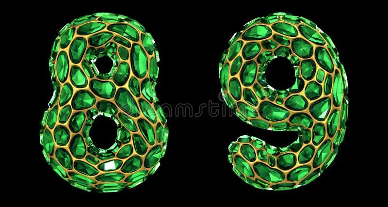 Sistema 8, 9 del número hechos que de 3d rinde color verde de los cascos del diamante ilustración del vector