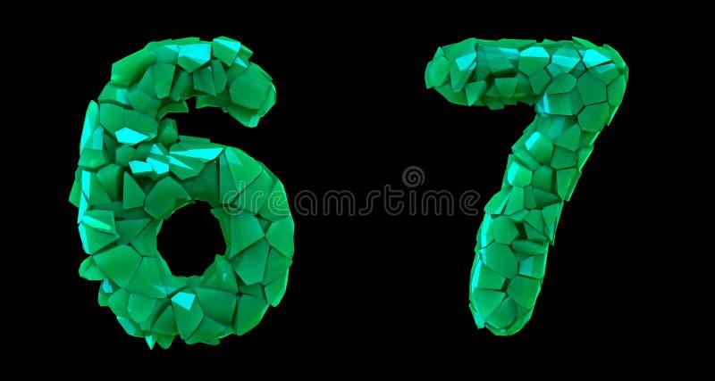 Sistema 6, 7 del número hechos que de 3d rinde color verde de los cascos plásticos libre illustration