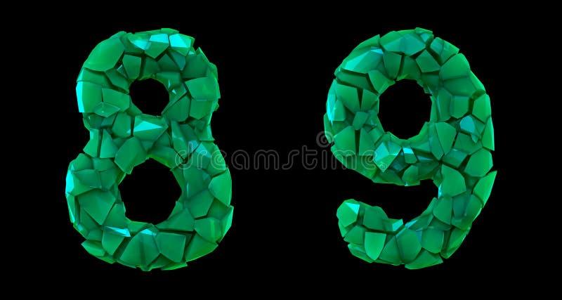 Sistema 8, 9 del número hechos que de 3d rinde color verde de los cascos plásticos stock de ilustración
