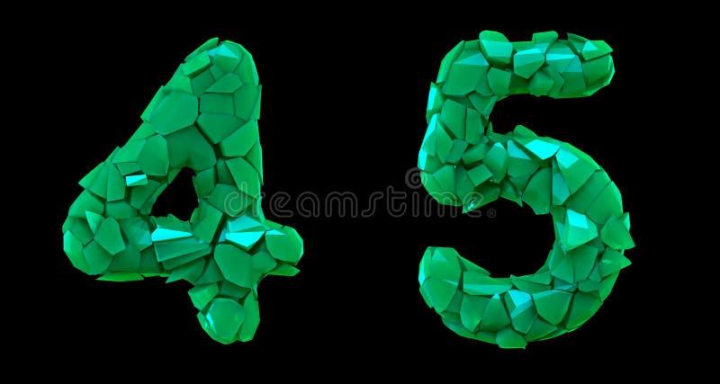 Sistema 4, 5 del número hechos que de 3d rinde color verde de los cascos plásticos stock de ilustración