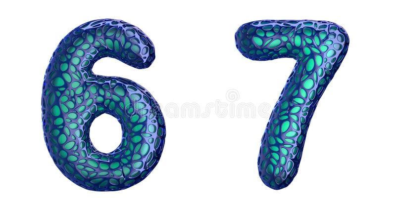 Sistema 6, 7 del n?mero hechos de la representaci?n pl?stica azul 3d libre illustration