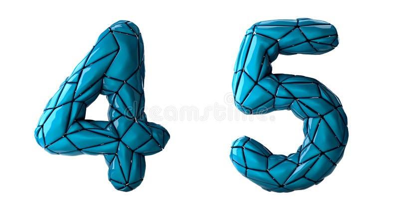 Sistema 4, 5 del n?mero hechos del pl?stico azul del color ilustración del vector