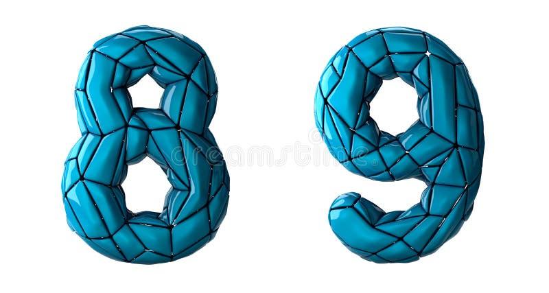 Sistema 8, 9 del n?mero hechos del pl?stico azul del color libre illustration