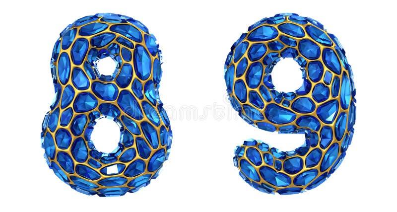 Sistema 8, 9 del n?mero hechos que de 3d rinde color azul de los cascos del diamante ilustración del vector