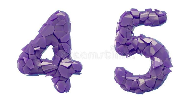Sistema 4, 5 del n?mero hechos que de 3d rinde color p?rpura de los cascos pl?sticos stock de ilustración