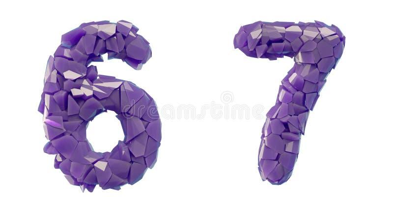 Sistema 6, 7 del n?mero hechos que de 3d rinde color p?rpura de los cascos pl?sticos stock de ilustración