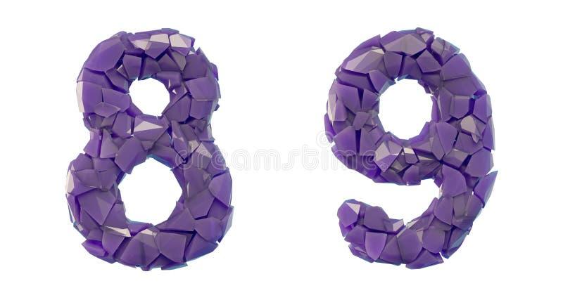 Sistema 8, 9 del n?mero hechos que de 3d rinde color p?rpura de los cascos pl?sticos libre illustration