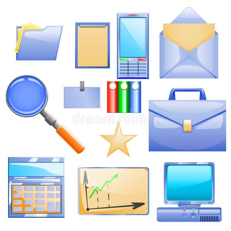 Sistema del negocio con diversa materia para el trabajo libre illustration