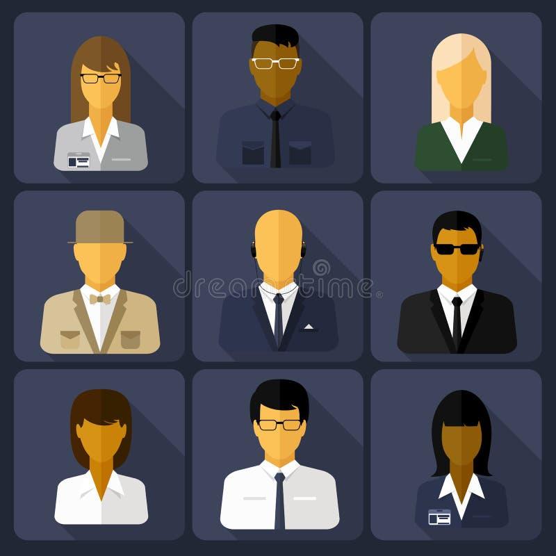 Sistema del negocio de los avatares elegantes mujer y hombre ilustración del vector