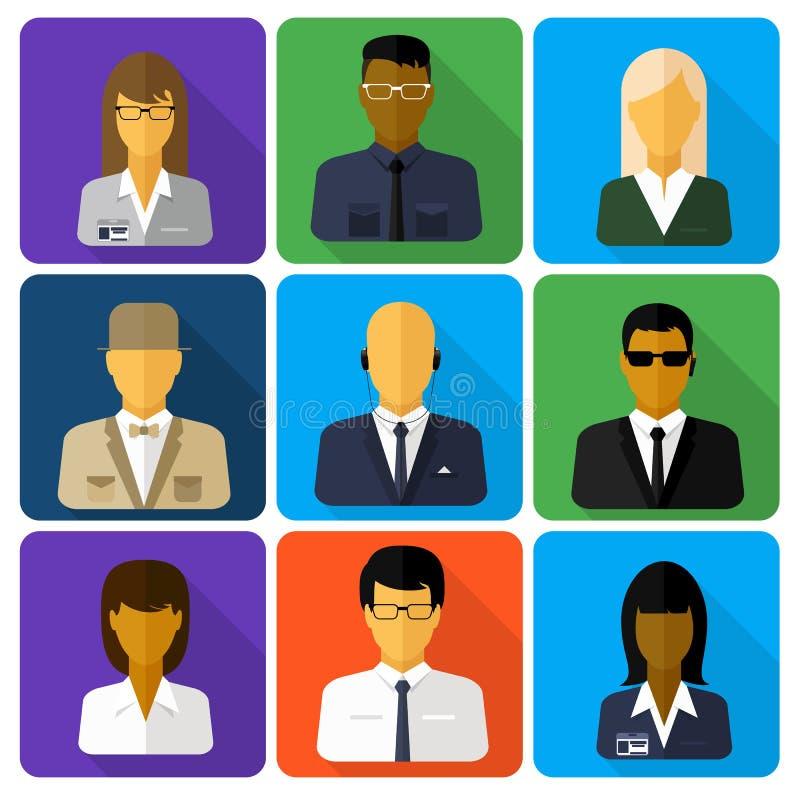 Sistema del negocio de los avatares elegantes mujer y hombre stock de ilustración
