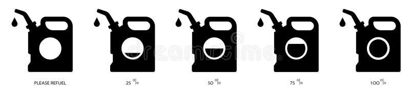 Sistema 2 del negro del aceite del bote stock de ilustración