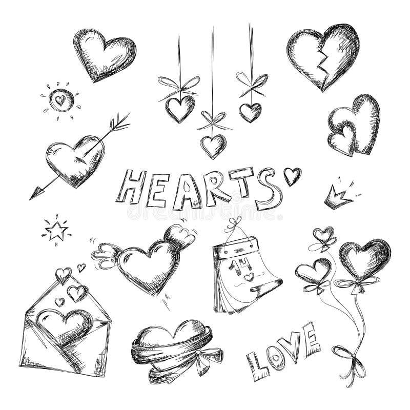 Sistema del negro de los corazones ilustración del vector