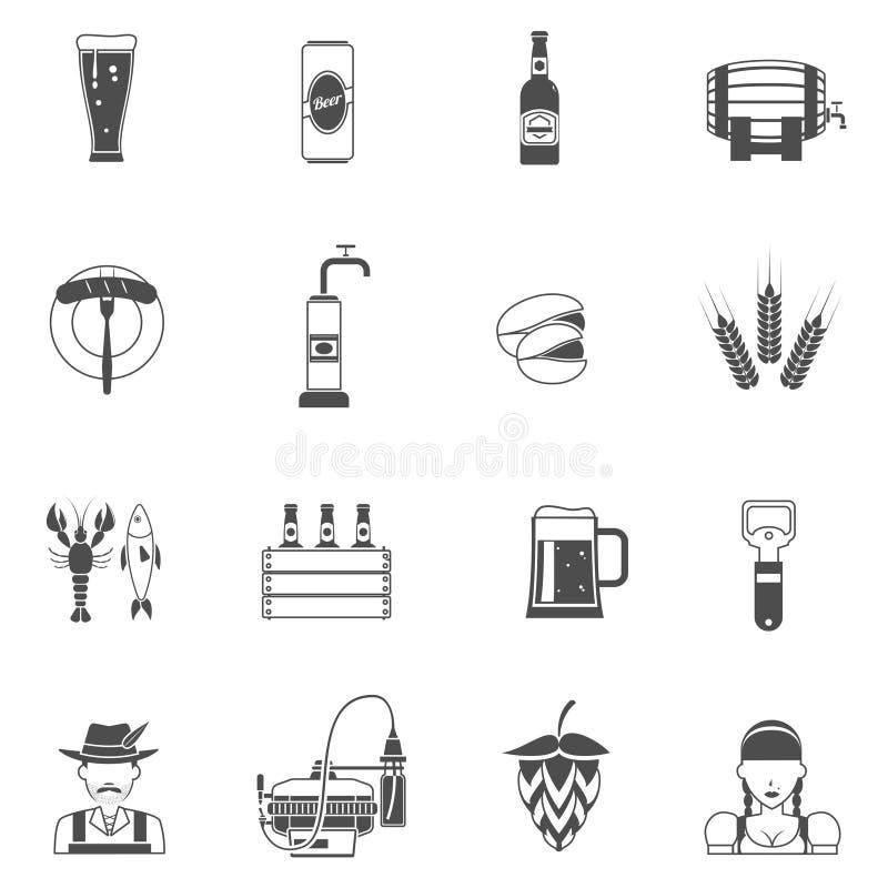 Sistema del negro de los iconos de la cerveza ilustración del vector