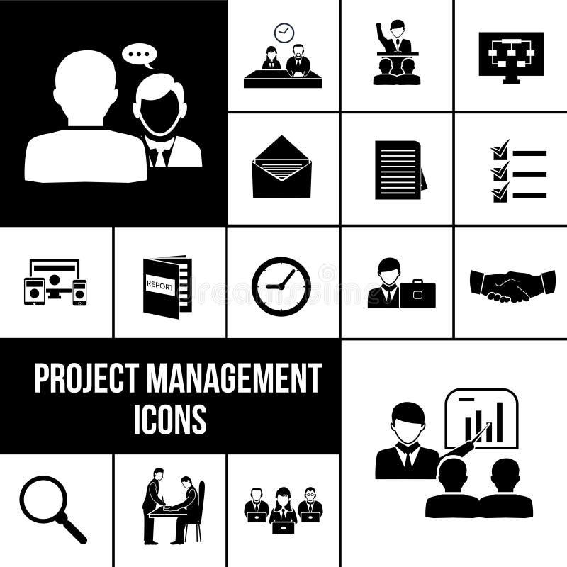 Sistema del negro de los iconos de la gestión del proyecto stock de ilustración