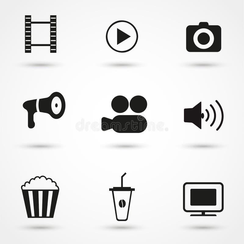 Sistema del negro de los iconos de la película fotos de archivo