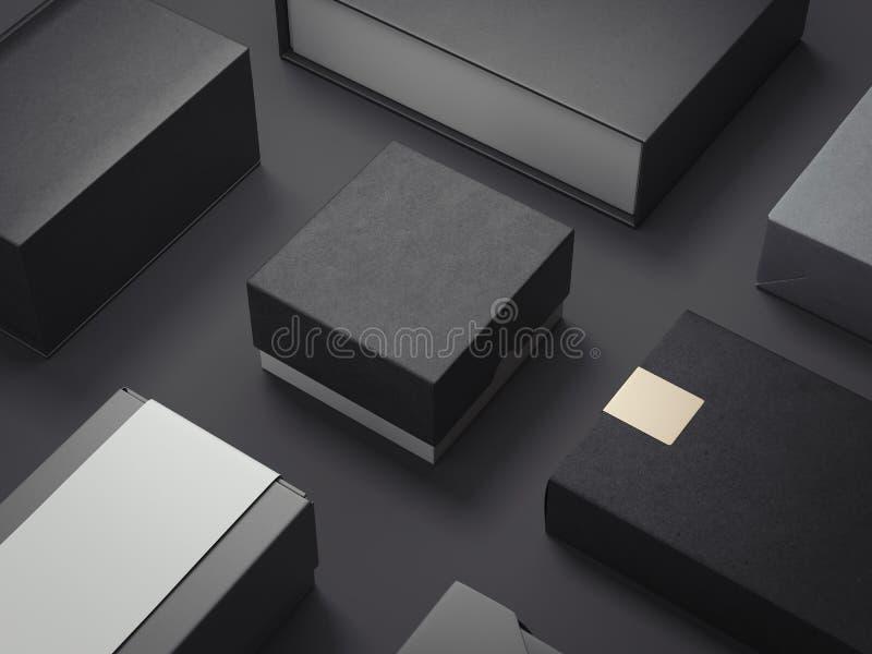 Sistema del negro de paquetes de lujo representación 3d ilustración del vector