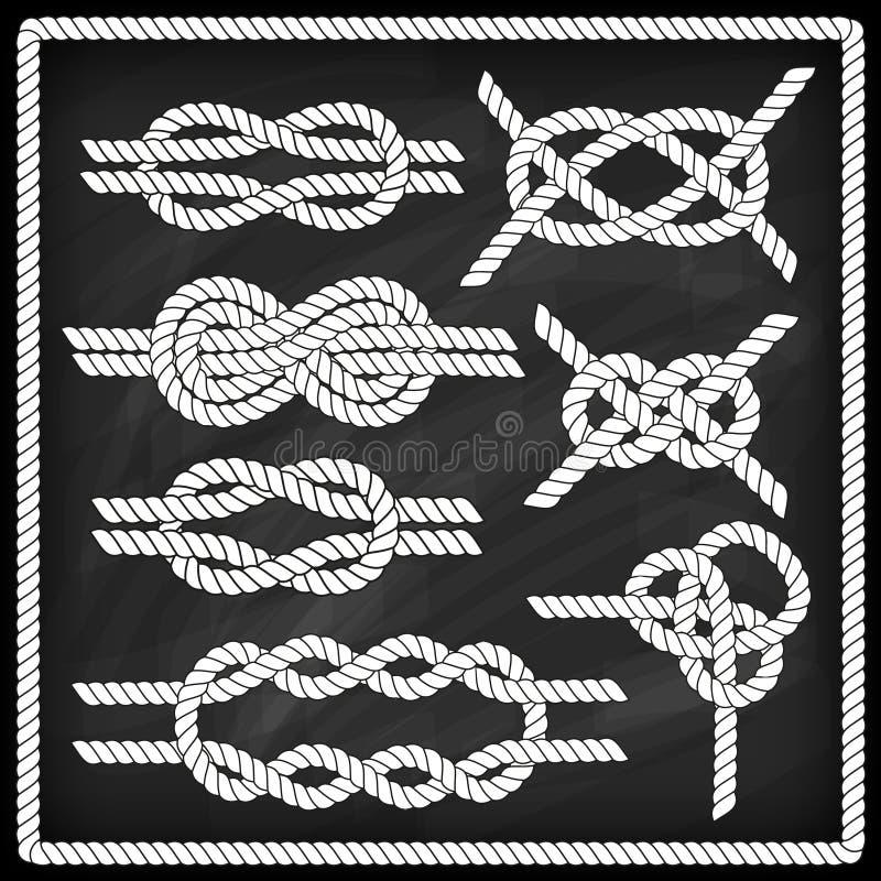Sistema del nudo del marinero ilustración del vector