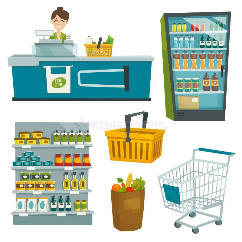 Sistema del objeto del supermercado, ejemplo de la historieta del vector ilustración del vector