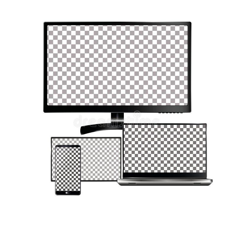 Sistema del ordenador portátil realista, de la tableta y del teléfono móvil con la pantalla vacía Aislado en el fondo blanco libre illustration
