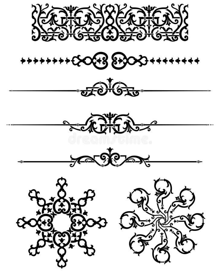 Sistema del ornamento del vintage stock de ilustración