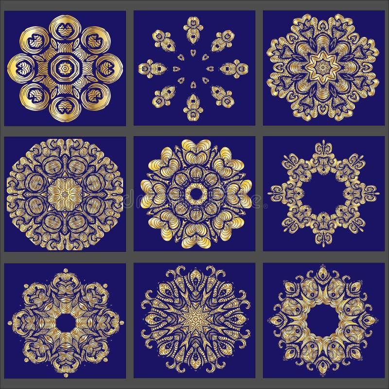 Sistema del ornamento redondo del oro 9 stock de ilustración