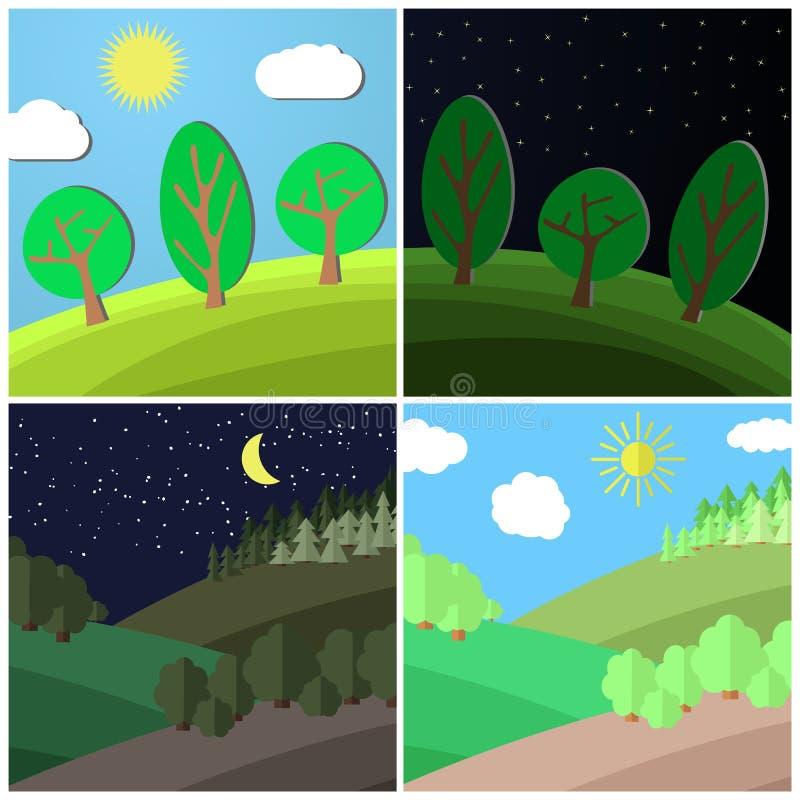 Sistema del paisaje del verano Día y noche en un claro en el bosque ilustración del vector