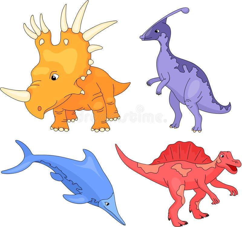 Sistema del palaeosaurus, del styracosaurus, del spinosaurus y del ichthyosaur ilustración del vector