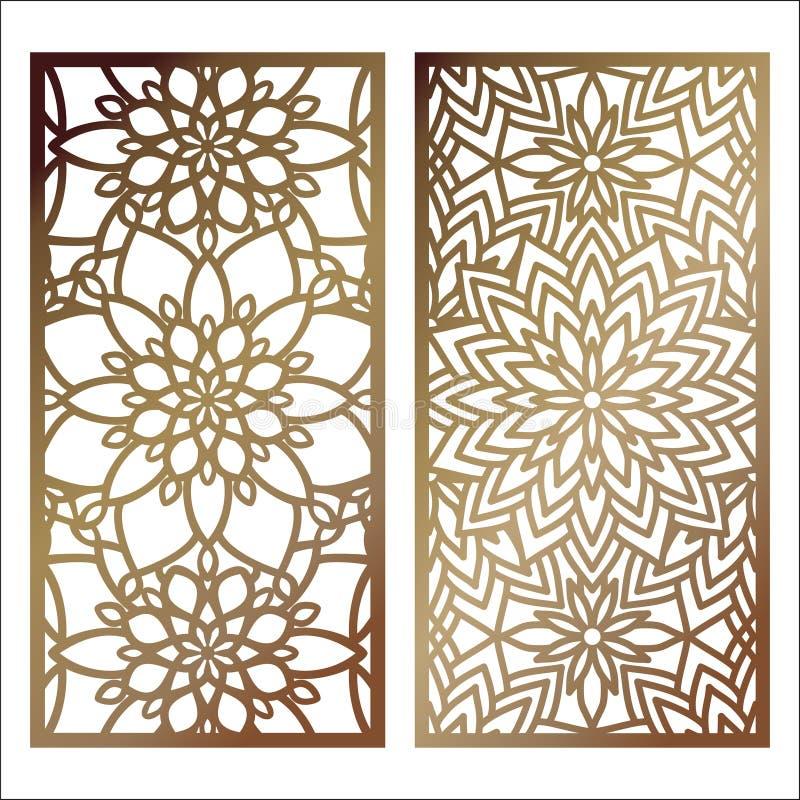 Sistema del panel del corte del laser del vector Plantilla del modelo para p decorativo libre illustration