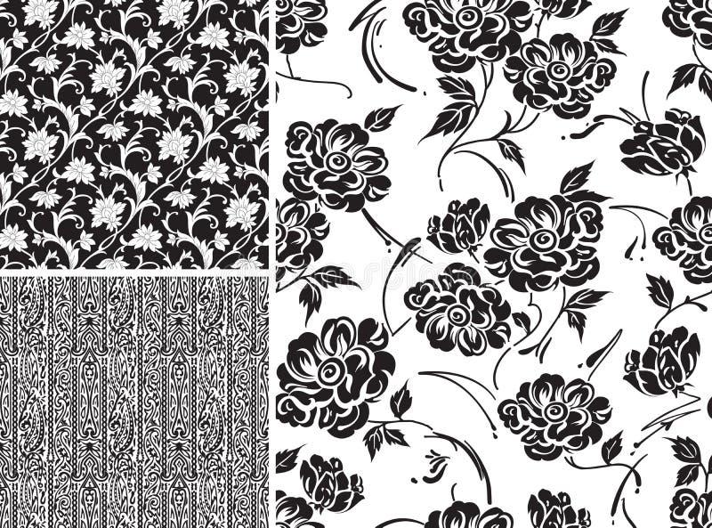 Sistema del papel pintado floral inconsútil libre illustration