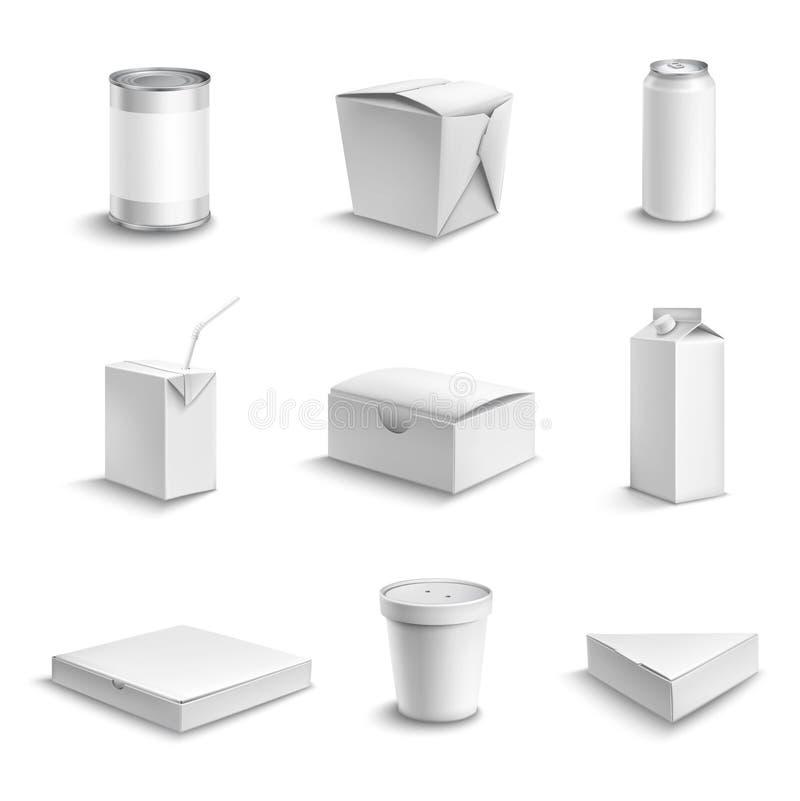 Sistema del paquete de la comida ilustración del vector