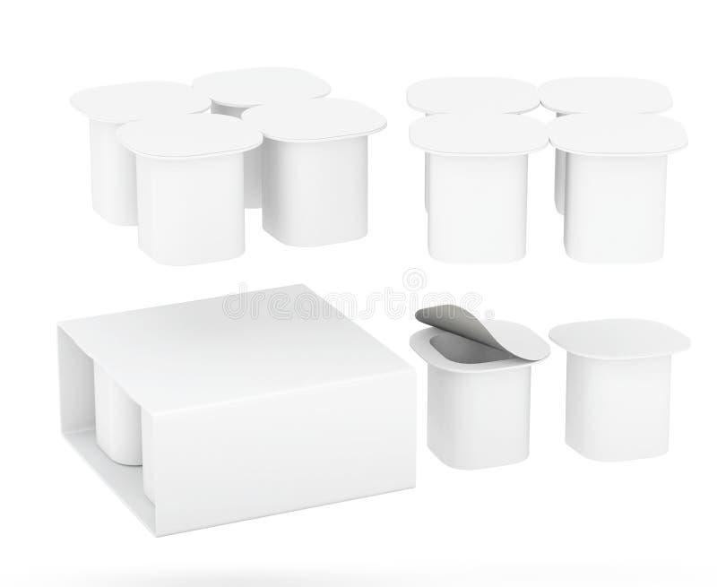 Sistema del paquete de la taza del yogur con la trayectoria de recortes ilustración del vector
