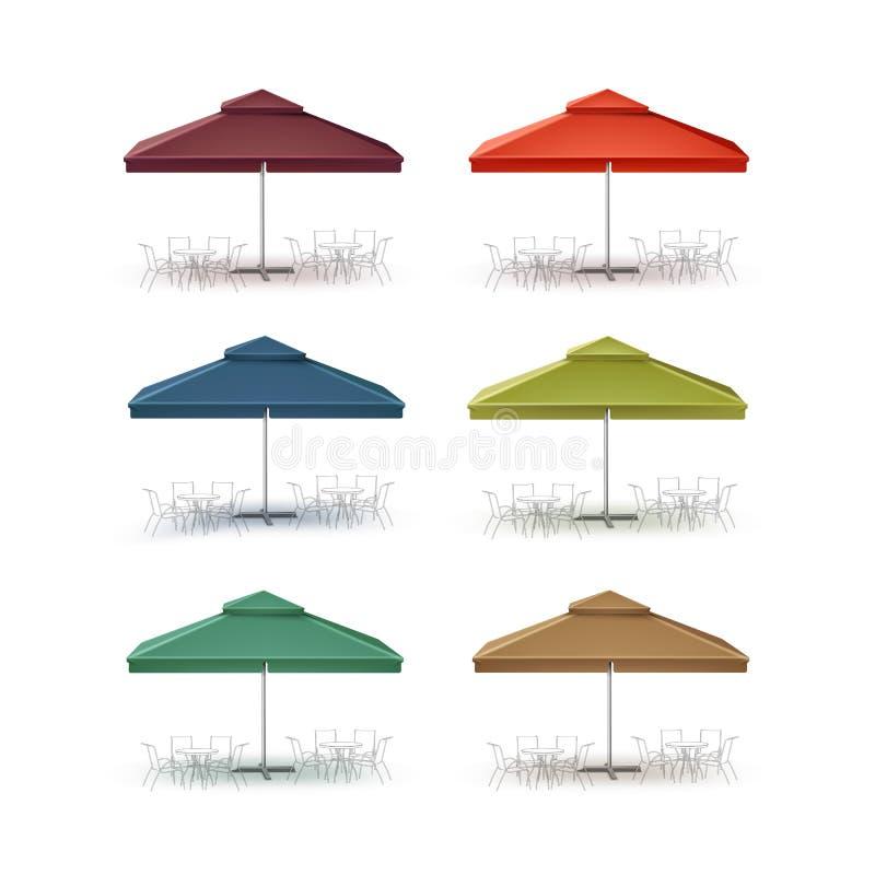 Sistema del parasol al aire libre del cuadrado del café del mercado del patio libre illustration