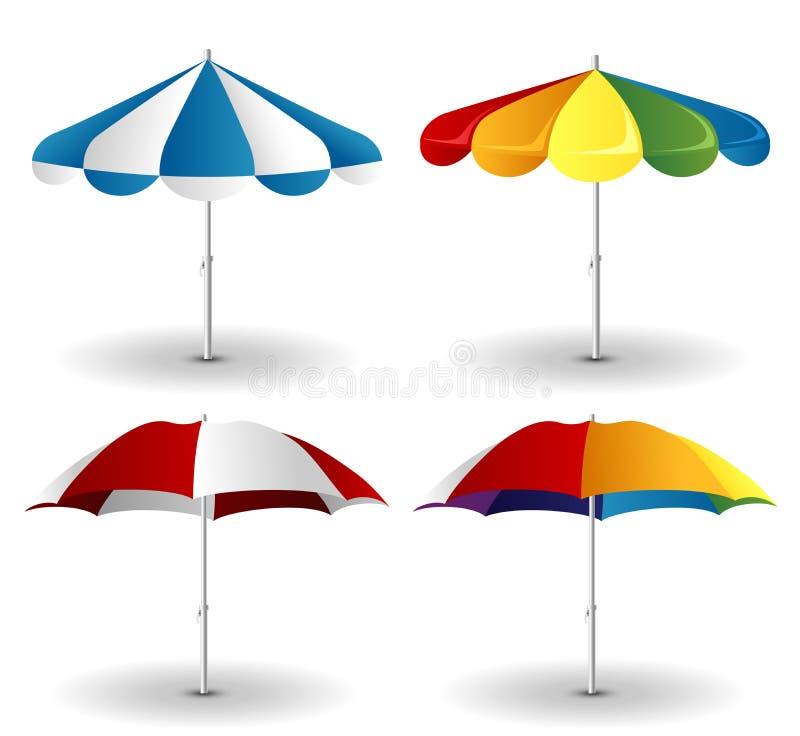 Sistema del parasol de playa stock de ilustración