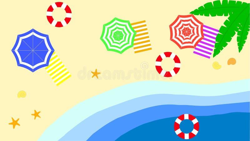 Sistema del parasol de playa Visión superior, diseño rayado Aislado para todos los fondos mar de los parasoles de playa del veran ilustración del vector