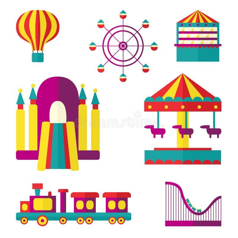 Sistema del parque de atracciones, ejemplo plano del vector del estilo ilustración del vector