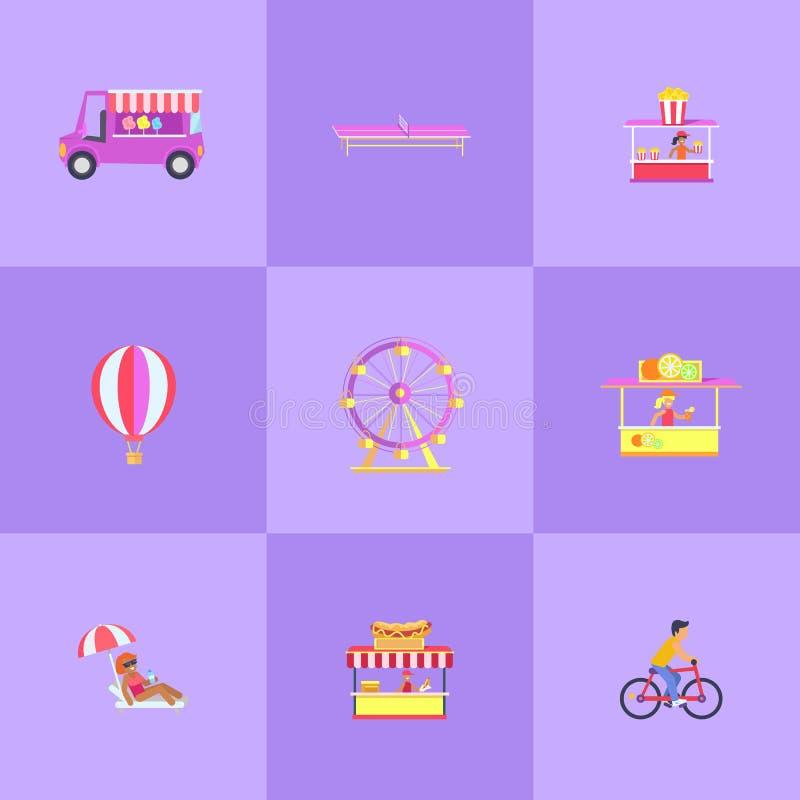 Sistema del parque de atracciones del ejemplo del vector de los iconos stock de ilustración