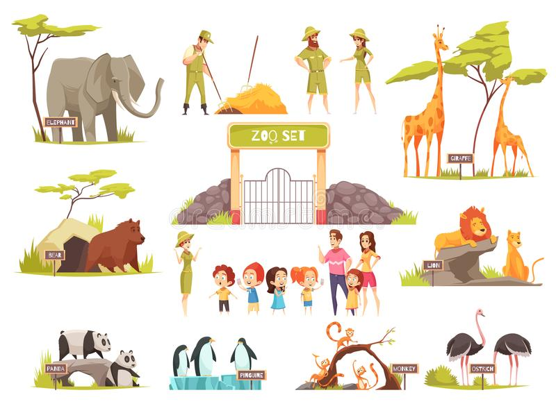 Sistema del parque zoológico de la historieta libre illustration