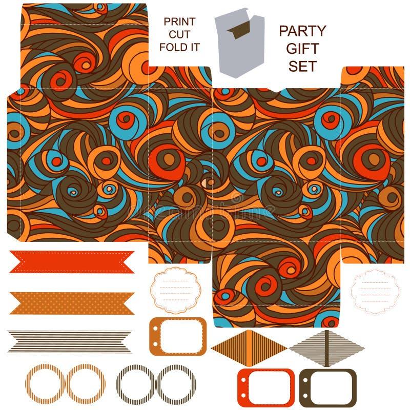 Sistema del partido de la plantilla de la caja de regalo libre illustration