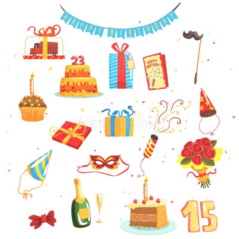 Sistema del partido del feliz cumpleaños de objetos lindos aislados de la historieta relacionados con ir de fiesta y la celebraci libre illustration