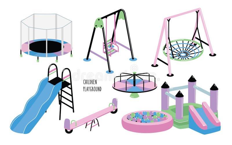 Sistema del patio de los niños Diverso trampolín al aire libre del equipo de los niños s, castillo animoso, colina, carrusel, sal ilustración del vector