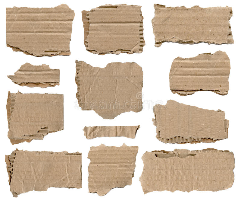 Sistema del pedazo de papel rasgado marrón fotos de archivo