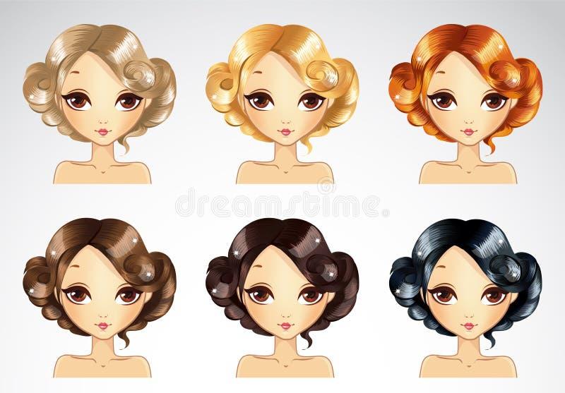 Sistema del peinado de Glamur ilustración del vector