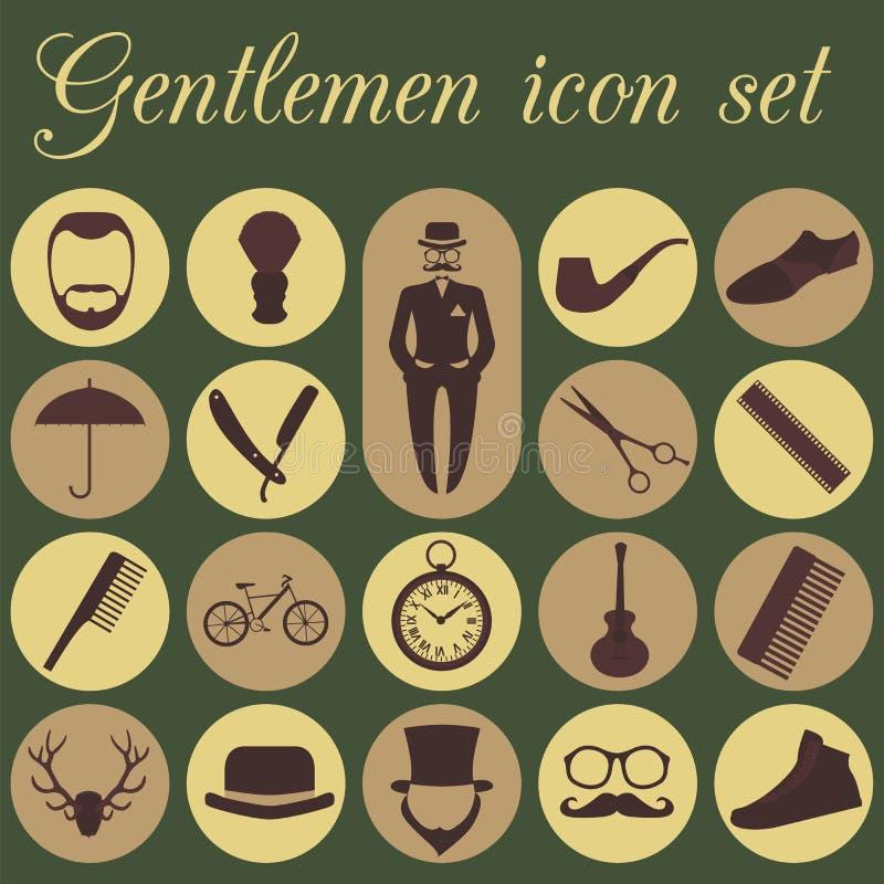 Sistema del peluquero del vintage, del peinado y del icono de los caballeros Illu del vector stock de ilustración