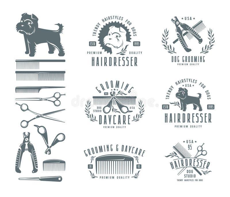 Sistema del peluquero para el perro insignias y elementos del diseño ilustración del vector