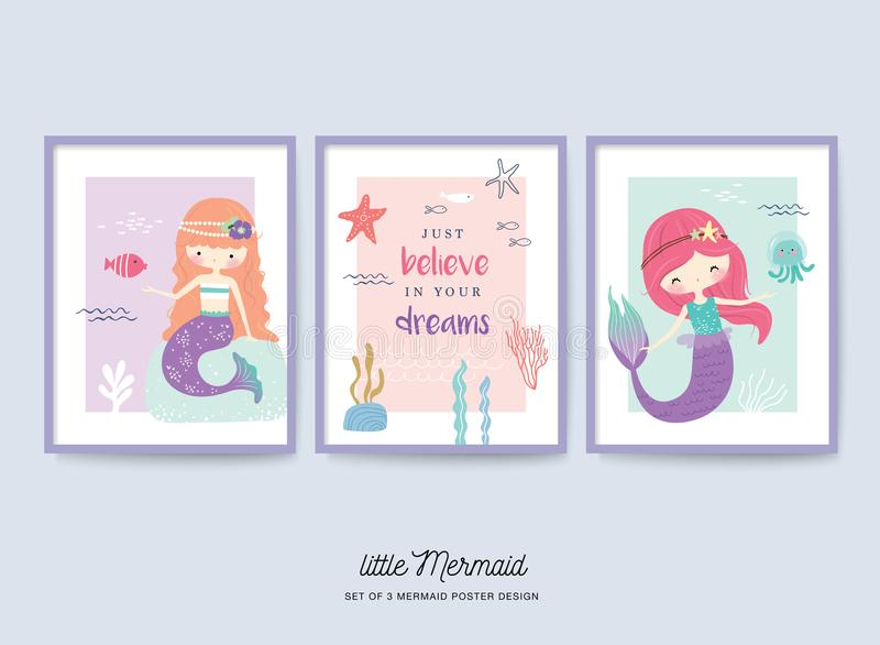 Sistema del pequeño cartel lindo del cuarto de niños de la sirena stock de ilustración